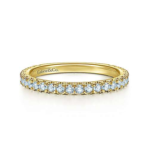 14K Yellow Gold Sky Blue Topaz Stacklable Ring