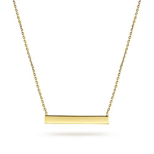 14K Yellow Gold Smooth Bar Necklace