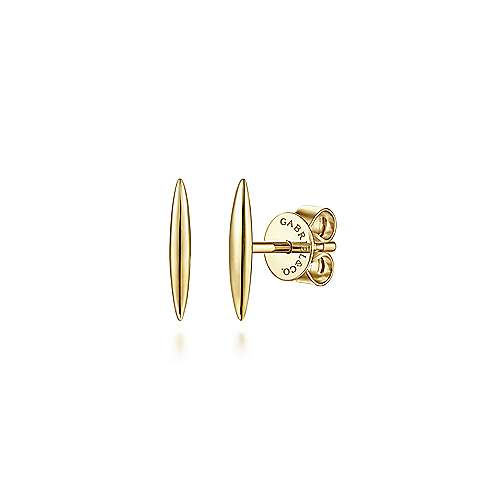 14K Yellow Gold Smooth Bar Stud Earrings