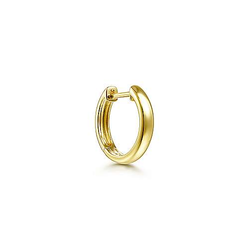 14K Yellow Gold Smooth Single Huggie Earring