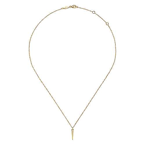 14K Yellow Gold Spike Pendant Necklace
