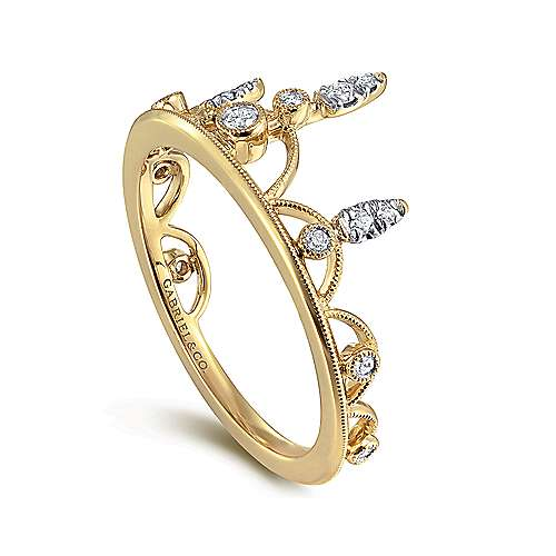14K Yellow Gold Spiked Diamond Crown Ring