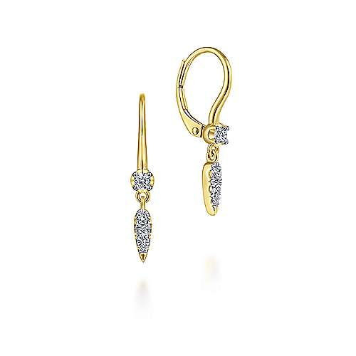 14K Yellow Gold Spiked Diamond Drop Earrings
