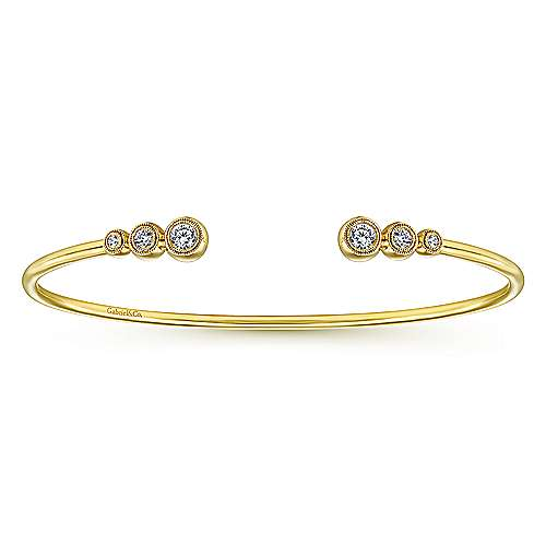 14K Yellow Gold Split Bezel Set Diamond Bangle