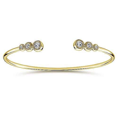 14K Yellow Gold Split Bezel Set Diamond Bangle