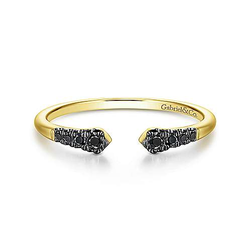 14K Yellow Gold Split Black Diamond Stackable Ring