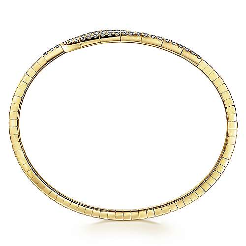 14K Yellow Gold Split Bypass Diamond Bangle