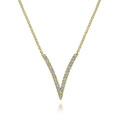 14K Yellow Gold Split Chain Diamond V Necklace