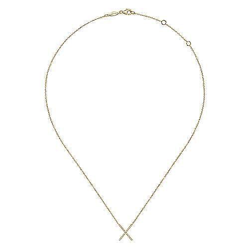 14K Yellow Gold Split Chain Diamond X Necklace