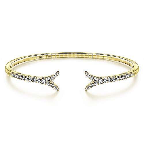 14K Yellow Gold Split Diamond Bangle
