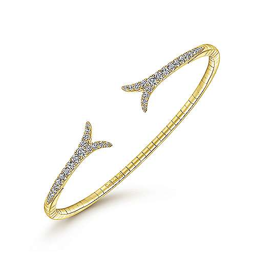 14K Yellow Gold Split Diamond Bangle