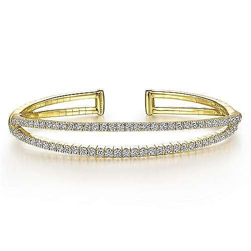 14K Yellow Gold Split Diamond Cuff