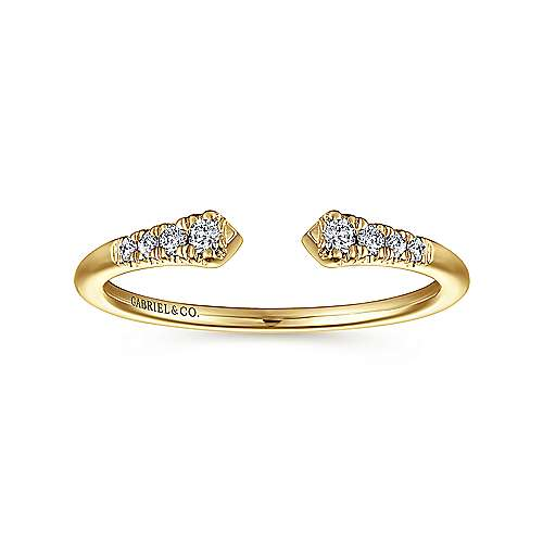 14K Yellow Gold Split Diamond Stackable Ring
