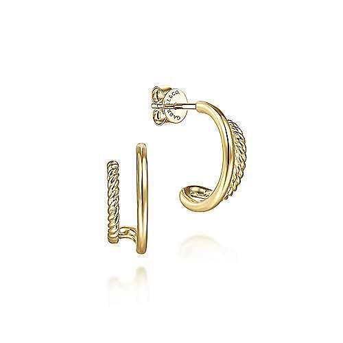 14K Yellow Gold Split J Shape Stud Earrings