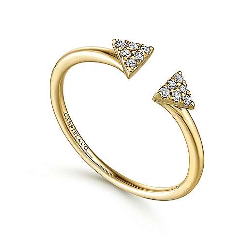 14K Yellow Gold Split Pavé Triangle Ring