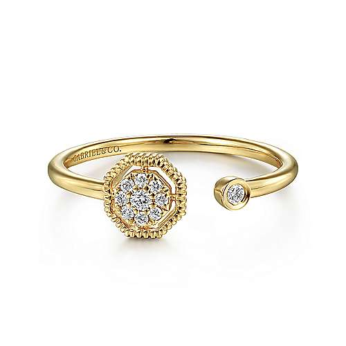 14K Yellow Gold Split Ring with Pave Hexagon and Bezel Stone