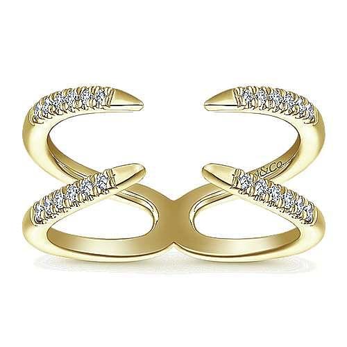 14K Yellow Gold Split Shank Diamond Open Wrap Ladies Ring