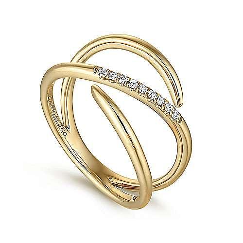 14K Yellow Gold Split Shank Pavé Diamond Wrap Ring