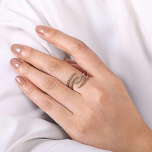 14K Yellow Gold Split Shank Pave Diamond Open Wrap Ring