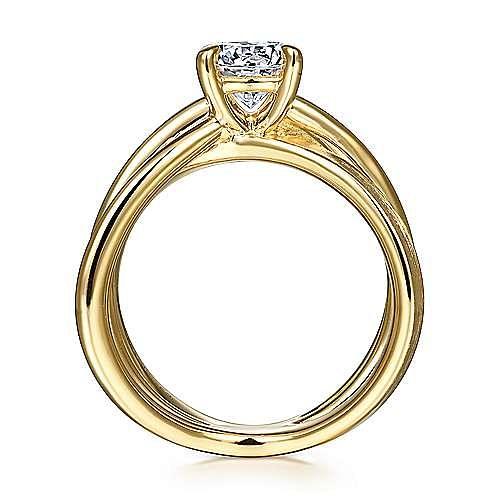 14K Yellow Gold Split Shank Round Diamond Engagement Ring