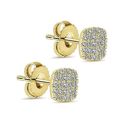 14K Yellow Gold Square Pavé Diamond Stud Earrings