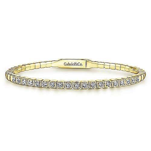 14K Yellow Gold Square Set Diamond Bangle