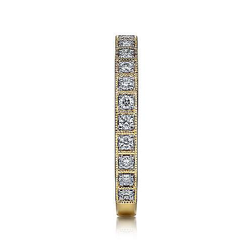 14K Yellow Gold Square Set Round Diamond Stackable  Band