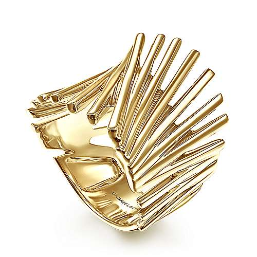 14K Yellow Gold Stacked Bar Cage Ring