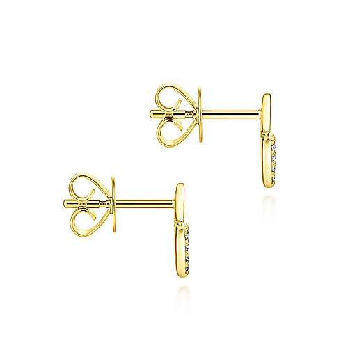 14K Yellow Gold Stacked Triangle Diamond Stud Earrings
