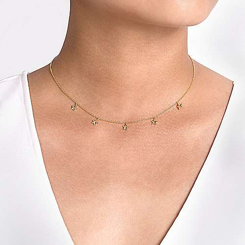 14K Yellow Gold Star Drop Station Necklace
