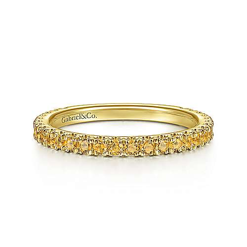 14K Yellow Gold Straight Citrine Stackable Ring