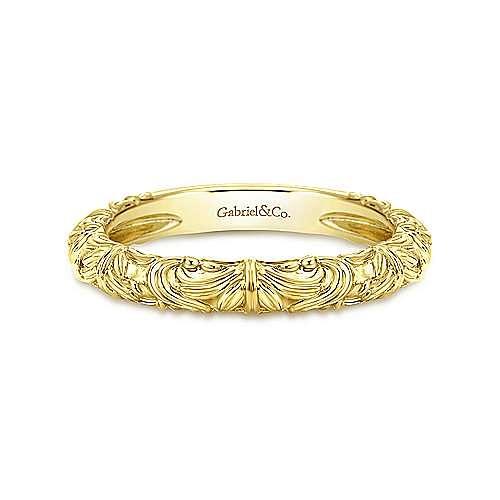 14K Yellow Gold Swirl Pattern Ring