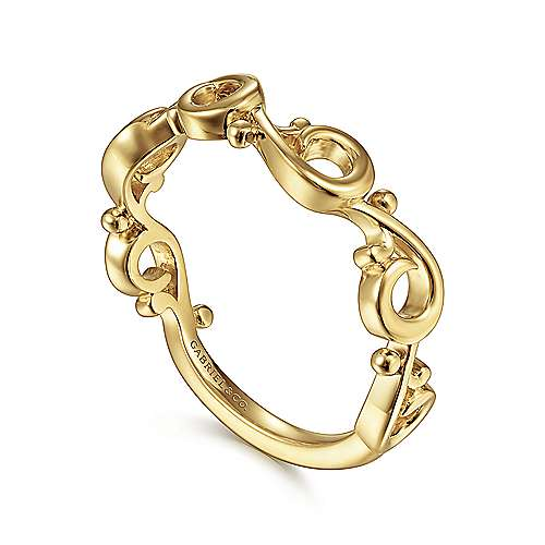 14K Yellow Gold Swirling Stackable Ring