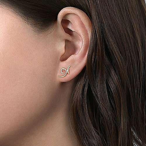 14K Yellow Gold Swirling X Shape Stud Earrings