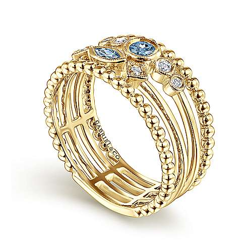 14K Yellow Gold Swiss Blue Topaz and Diamond Multi Row Ring