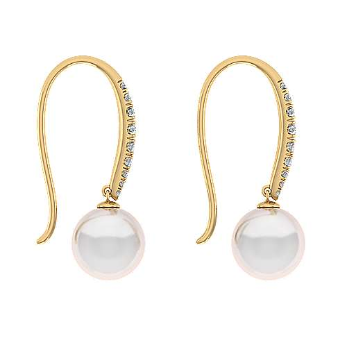 14K Yellow Gold Tapered Diamond Cultured Pearl Drop Earrings