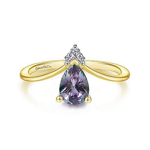 14K Yellow Gold Teardrop Alexandrite and Diamond Chevron Ring