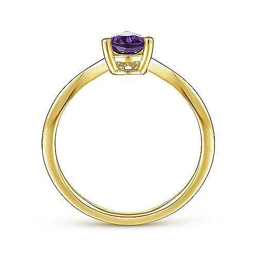 14K Yellow Gold Teardrop Amethyst and Diamond Triangle Ring