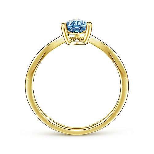 14K Yellow Gold Teardrop Blue Topaz and Diamond Triangle Ring