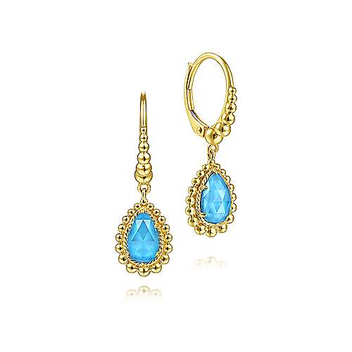 14K Yellow Gold Teardrop Blue Topaz with Beaded Frame Drop Earrings