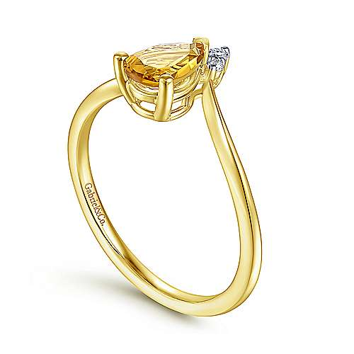 14K Yellow Gold Teardrop Citrine and Diamond Chevron Ring