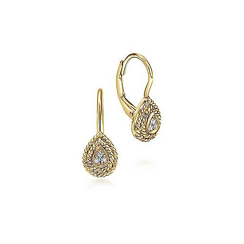 14K Yellow Gold Teardrop Diamond Drop Earrings with Twisted Rope Frames