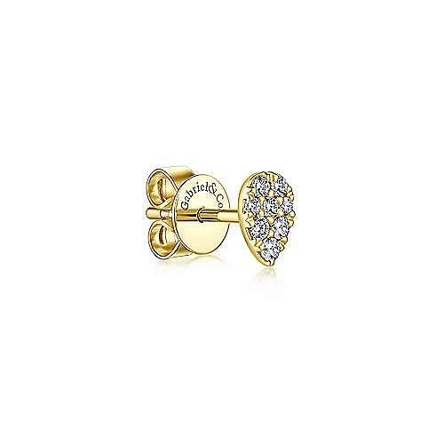 14K Yellow Gold Teardrop Diamond Stud Single Earring