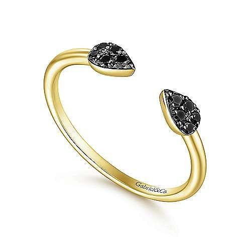 14K Yellow Gold Teardrop Pavé Black Diamond Cluster Split Ring