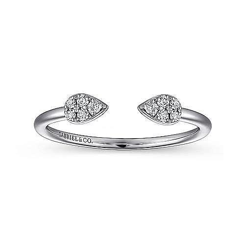 14K Yellow Gold Teardrop Pavé Diamond Cluster Split Ring