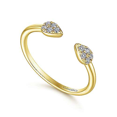 14K Yellow Gold Teardrop Pavé Diamond Cluster Split Ring