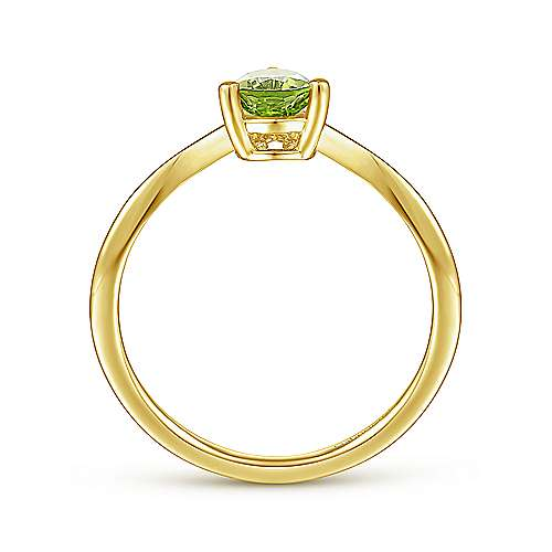 14K Yellow Gold Teardrop Peridot and Diamond Chevron Ring