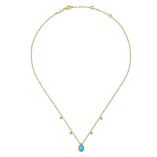 14K Yellow Gold Teardrop Rock Crystal/Turquoise Pendant Necklace with Diamond Accents