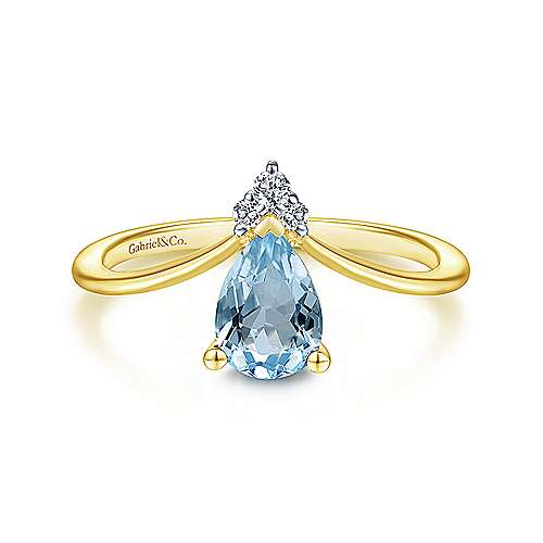 14K Yellow Gold Teardrop Sky Blue Topaz and Diamond Chevron Ring