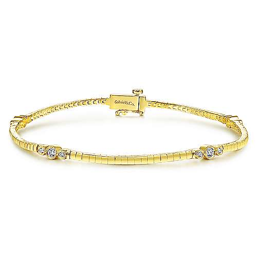 14K Yellow Gold Tennis Bracelet with Bezel Set Diamond Stations
